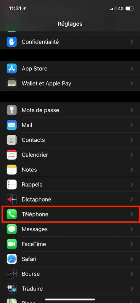 iphone reglage appel anonyme téléphone