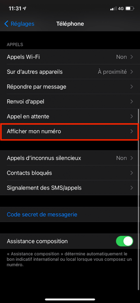 iphone reglage appel anonyme